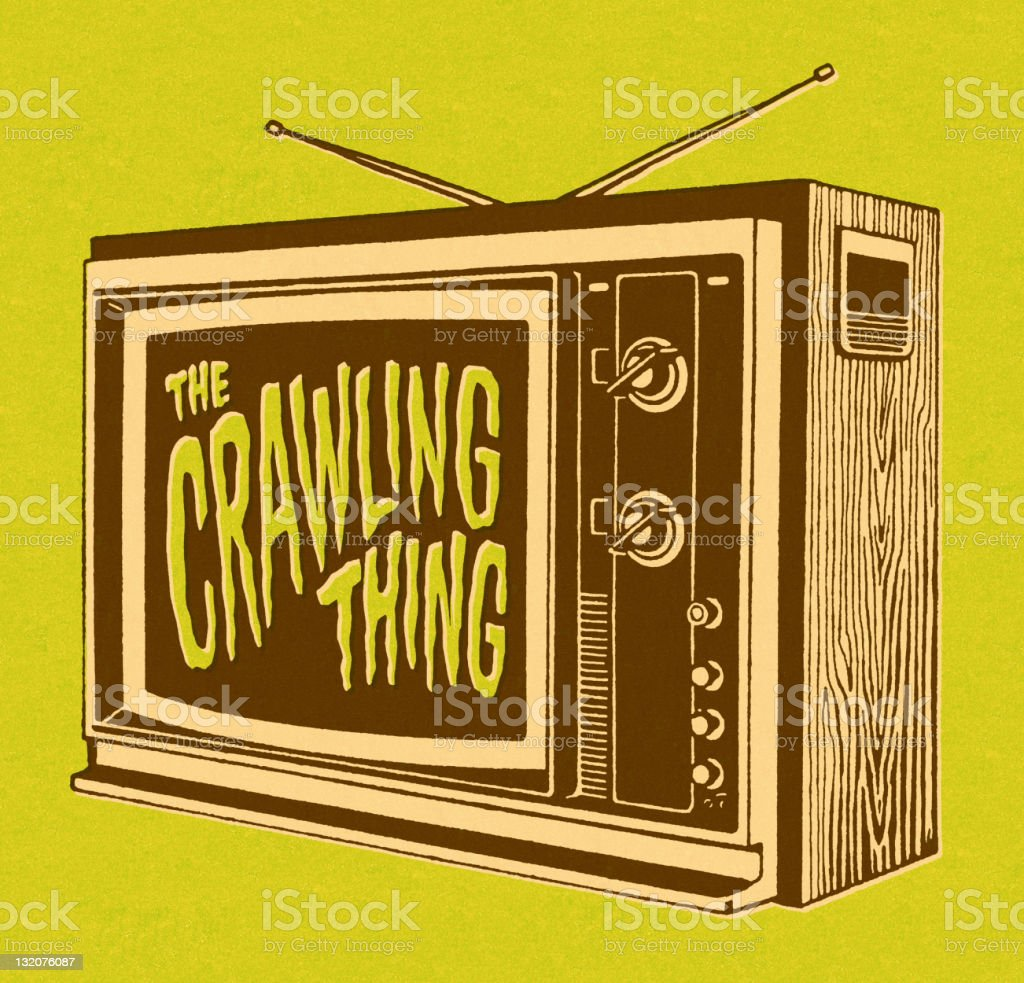 The Crawling Thing on TV vector art illustration