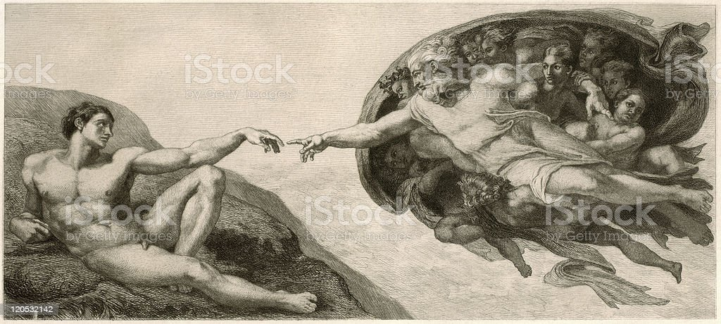 Black and white drawing of the creation of Adam painting vector art illustration