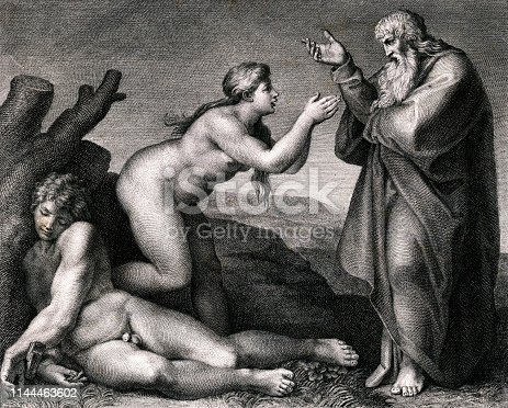 Vintage Biblical image depicts God creating Eve from Adam's rib.