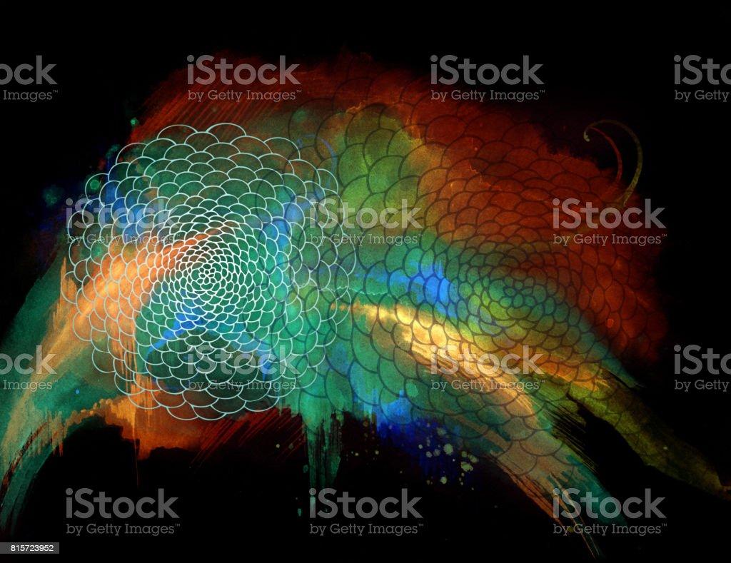 the creative molecule vector art illustration