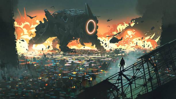 the creature machine invading city vector art illustration