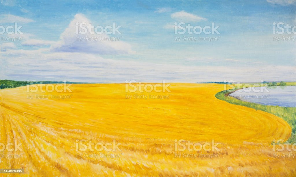 The crop was harvested in a wheat field vector art illustration