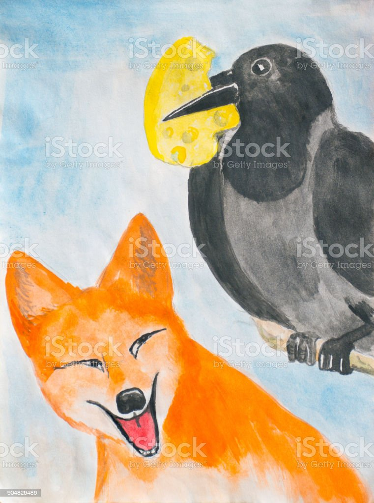 The crow and the fox. Illustration to the fable. vector art illustration