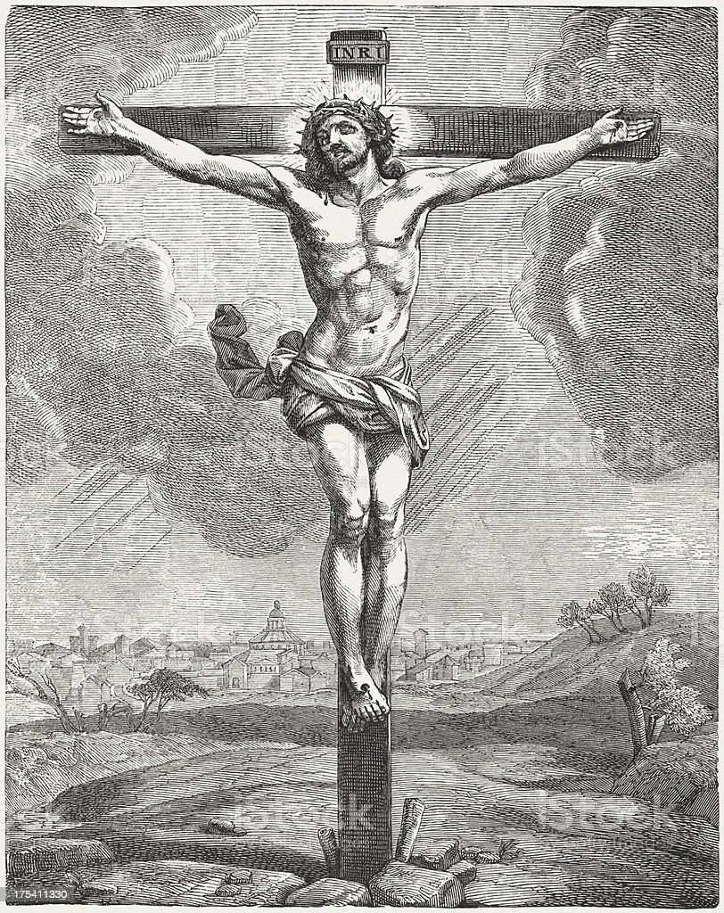 The crucified Jesus, wood engraving, published c. 1880 vector art illustration