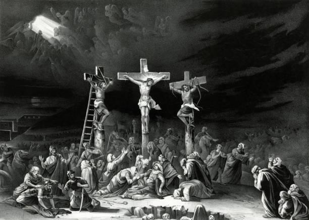isa mesih 'in çarmıha gerilmesi - mimari illüstrasyonlar stock illustrations