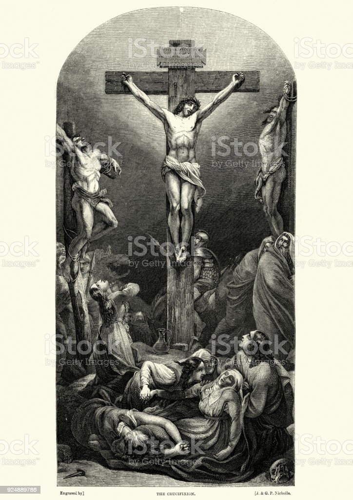 The Crucifixion of Jesus Christ vector art illustration