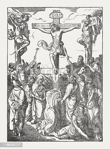 The Crucifixion of Jesus. Wood engraving, published in 1850.