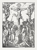 istock The Crucifixion of Jesus, wood engraving, published in 1850 1166592227