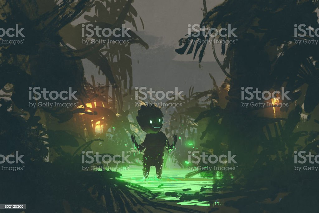 the cute creature made from magic swamp in tropical forest vector art illustration