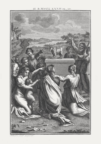 The dance around the Golden Calf (Exodus 32), published c.1850 The dance around the Golden Calf (Exodus 32). Copperplate engraving by Carl Schuler after Raphael, published c. 1850. moses religious figure stock illustrations