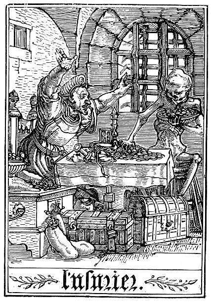the dance of death - rich man - evil money stock illustrations, clip art, cartoons, & icons