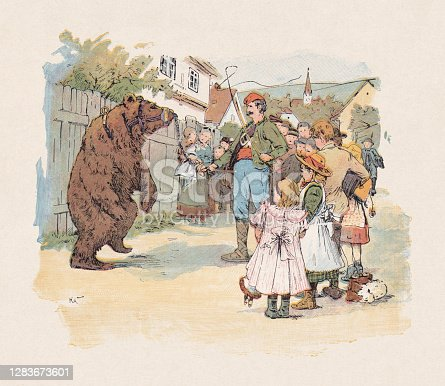 istock The dancing bear, color woodcut, published in 1897 1283673601