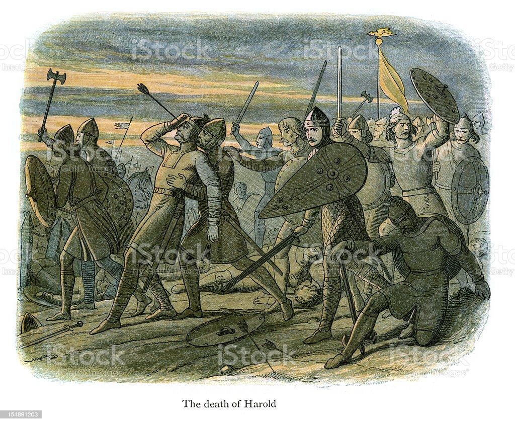 The Death of King Harold vector art illustration