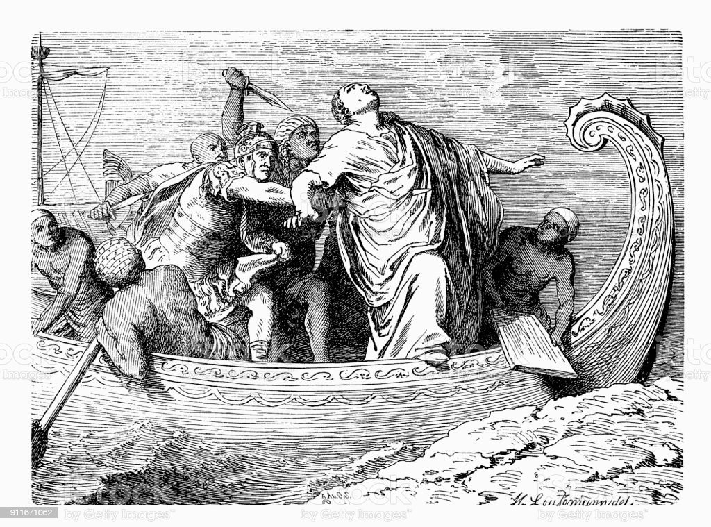 The Death of Pompey the Great, Italy vector art illustration