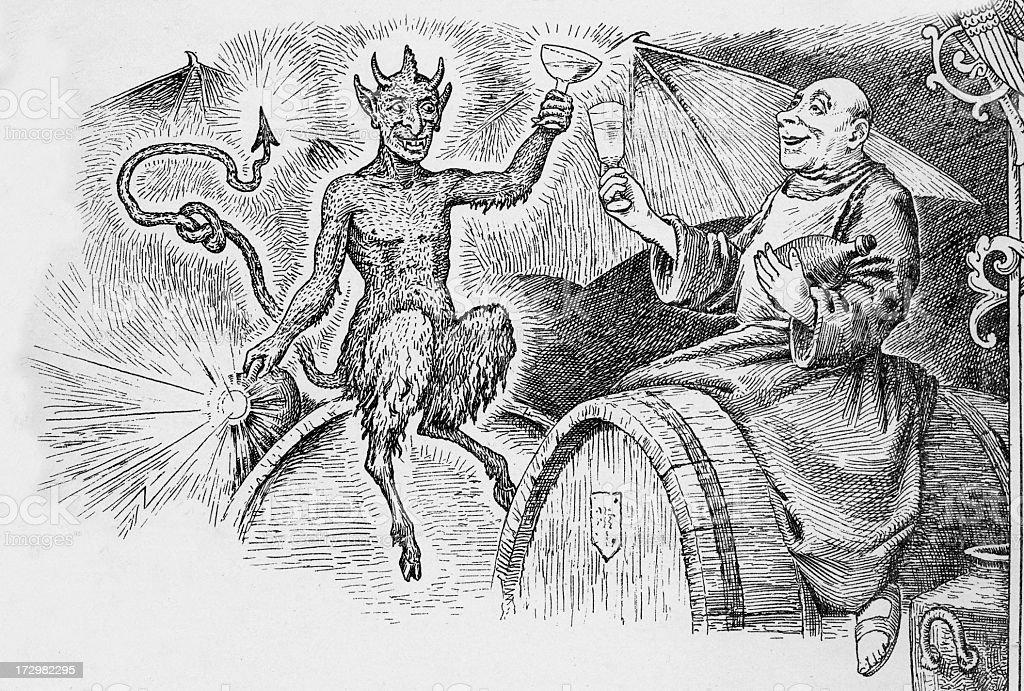 The demon drink vector art illustration