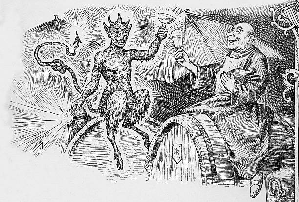 The demon drink The devil and the merry monk.  A vintage engraving of a drunk monk and the devil. Engraving from 1880s photo by D Walker seven deadly sins stock illustrations
