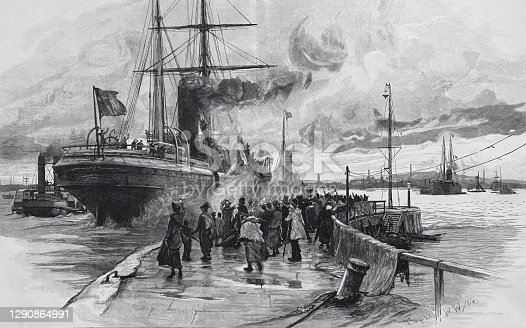 istock The departure of the emigrant ship 1290864991