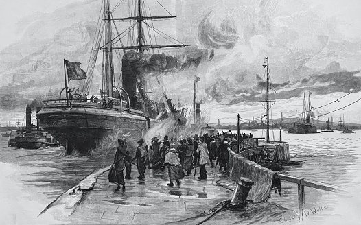 The departure of the emigrant ship