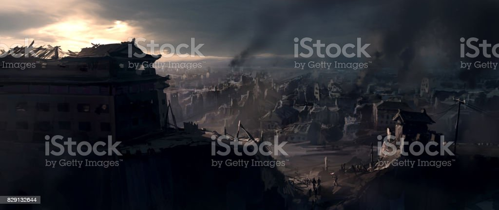 The destroyed city, digital painting. vector art illustration