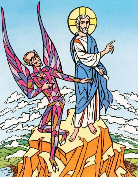 The Devil and Jesus vector art illustration