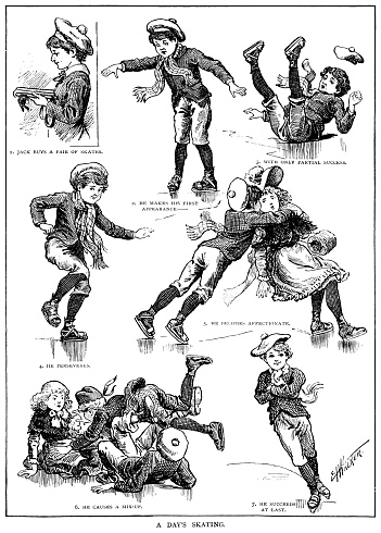 The disasters of a little Victorian boy when he goes ice skating