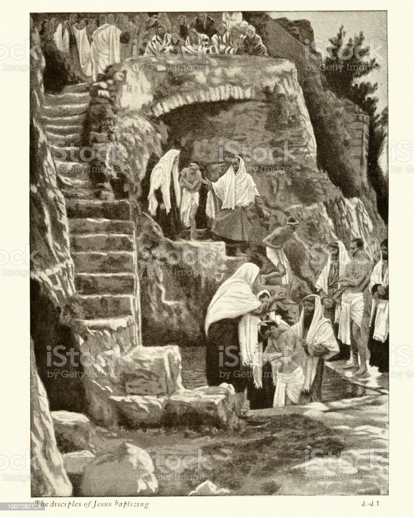 Die Jünger Jesu Taufe Stock Vektor Art Und Mehr Bilder Von