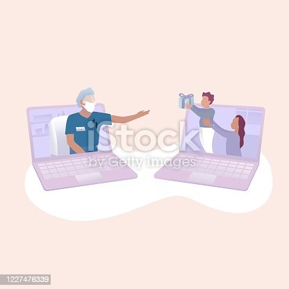 istock The doctor meeting family online in quarantine situation. Online meeting. Fathers day. Coronavirus. Social distance. 1227476339
