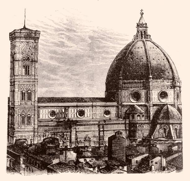 illustrazioni stock, clip art, cartoni animati e icone di tendenza di the dome of the cathedral of santa maria del fiore ,florence - firenze