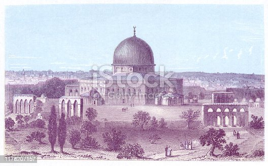 The Dome of the Rock in Jerusalem, Israel. Vintage colour etching circa mid 19th century.