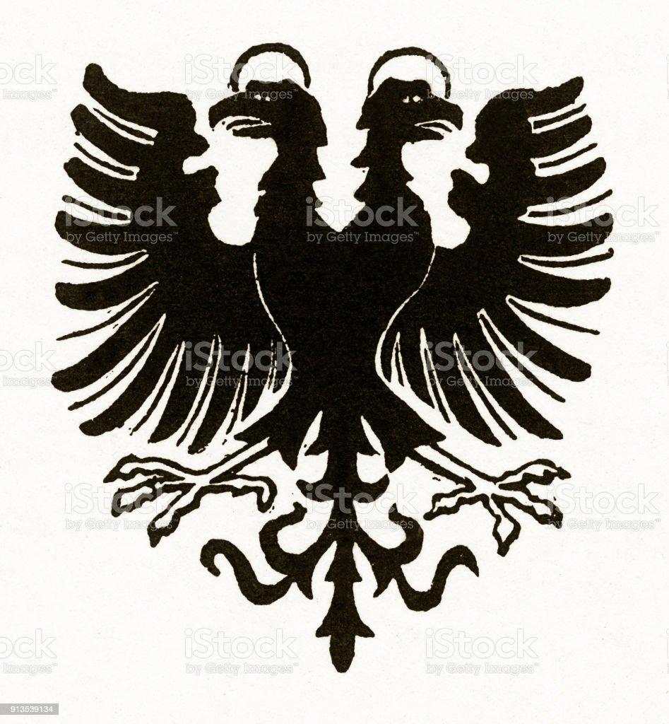The Doubleheaded Eagle Nimbus Christian Symbolism Engraving Stock