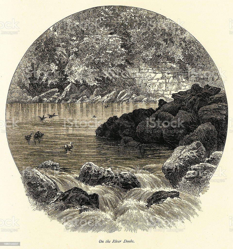 The Doubs River, Jura Mountains (antique wood engraving) vector art illustration