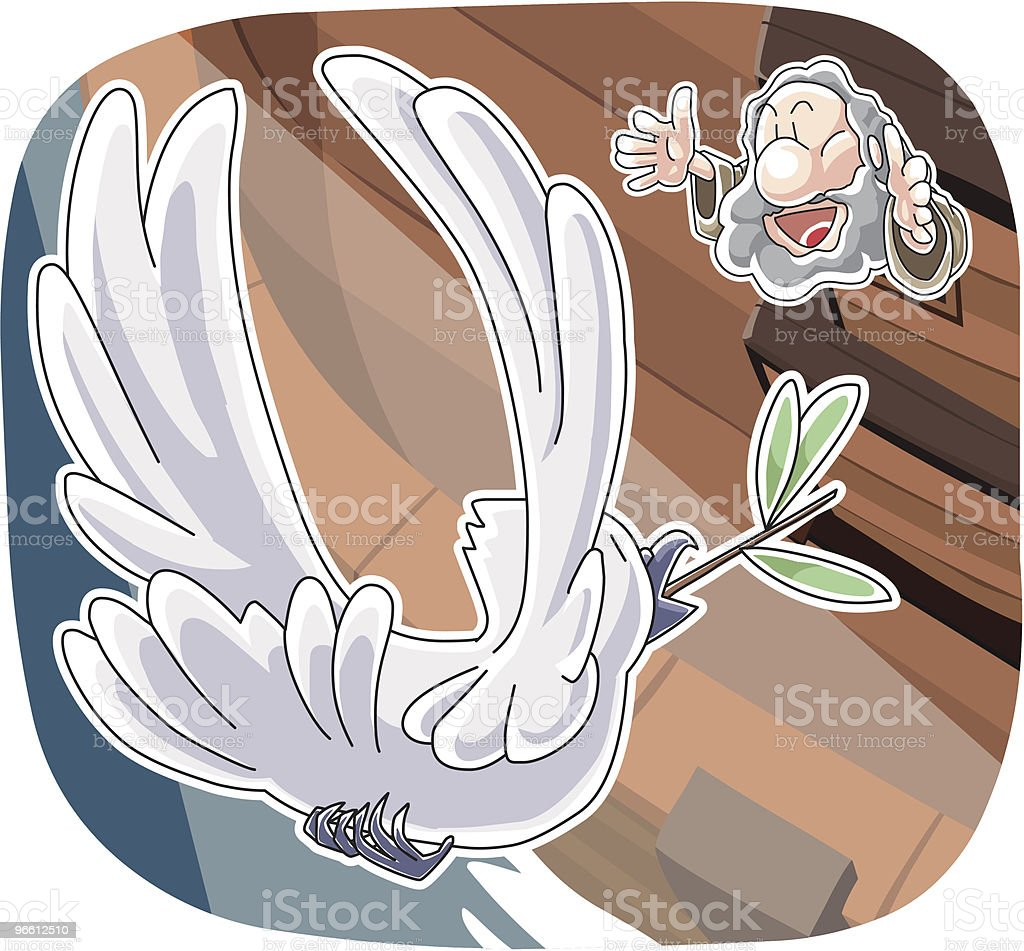 The dove came back with olive leaf - Royaltyfri Bibel vektorgrafik