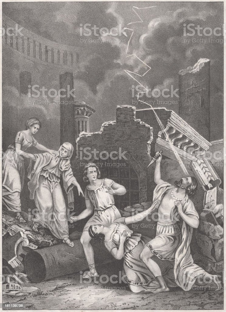 The Downfall of Pompeii (79 AD), lithograph, published in 1852. royalty-free stock vector art