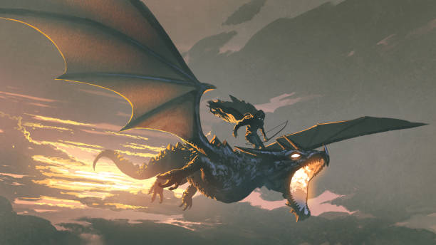 The dragon of the darkness the black knight riding the dragon flying in the sunset sky, digital art style, illustration painting dragon stock illustrations