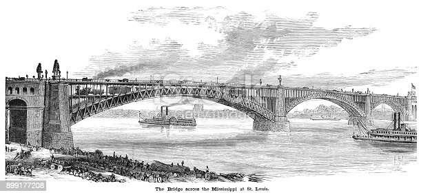 The twin level Eads Bridge across the Mississippi River connecting St Louis, Missouri, with East St Louis, Illinois. A steel combined road and rail bridge, it was financed by Andrew Carnegie, designed and built by James B Eads and opened in 1874: when it was completed it was the longest arch bridge in the world.