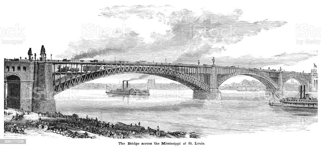 The Eads Bridge across the Mississippi River in St Louis vector art illustration