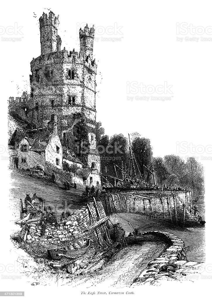 The Eagle Tower, Caernarvon Castle vector art illustration
