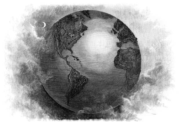 ilustrações de stock, clip art, desenhos animados e ícones de the earth engraving 1877 - mapa mundi