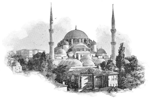 The Şehzade Mosque in Istanbul, Turkey - 19th Century vector art illustration