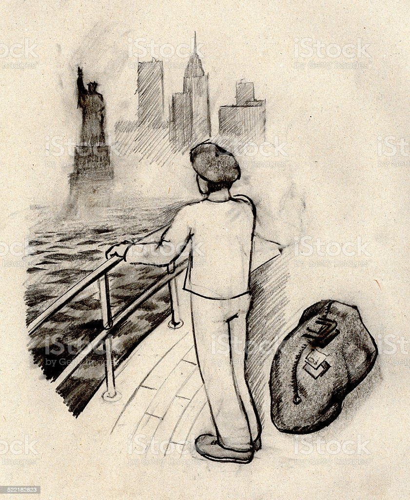 The emigrant vector art illustration