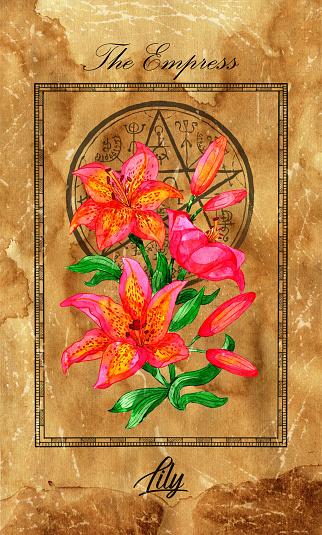 The Empress. Major Arcana tarot card with lily and magic seal.