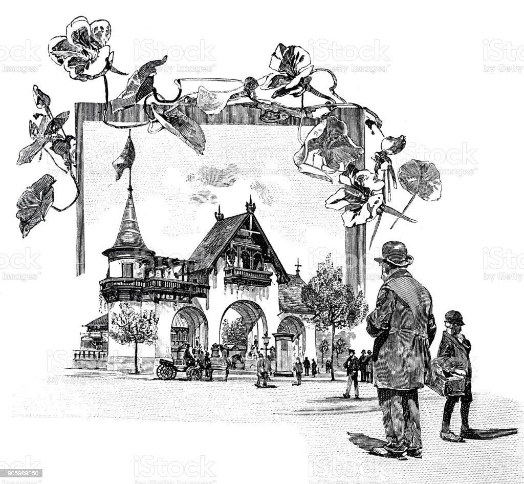 The entrance to the Hamburg Horticultural Exhibition at the HolstentorThe entrance to the Hamburg Horticultural Exhibition at the Holstentor vector art illustration