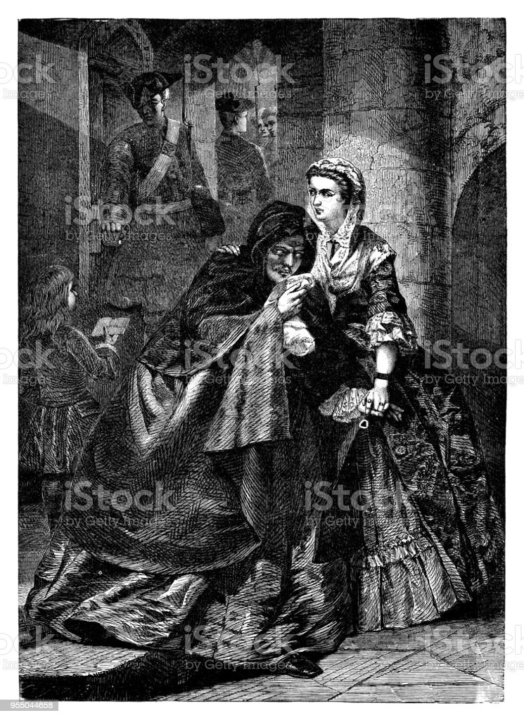 The escape of Lord Nithsdale from the Tower of London vector art illustration