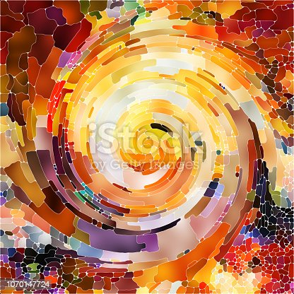 Spiral Twirl series. Creative arrangement of Stained glass swirl pattern of color fragments for subject of colorful design, creativity, art and imagination