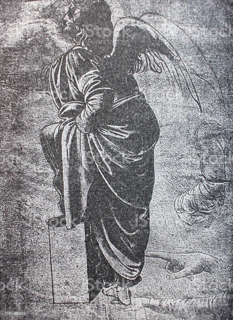 Ilustracion De La Etud Del Angel De La Virgen De Las Rocas De