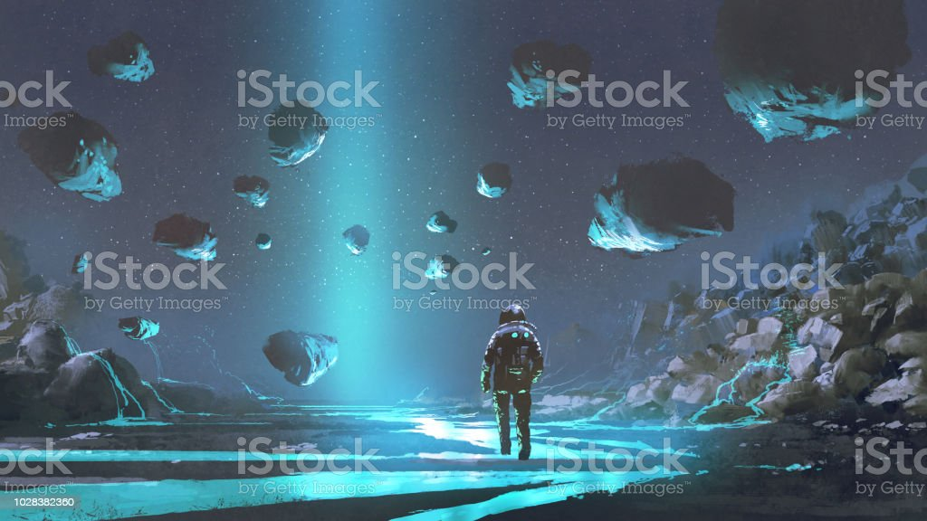 The exploration of turquoise planet vector art illustration