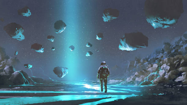The exploration of turquoise planet astronaut on turquoise planet with glowing blue minerals, digital art style, illustration painting astronaut floating in space stock illustrations