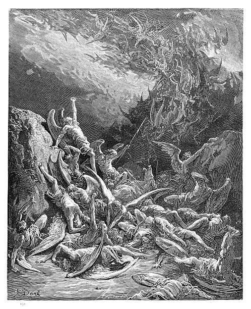 illustrazioni stock, clip art, cartoni animati e icone di tendenza di l'autunno del ribelle angeli incisione 1885 - dante alighieri
