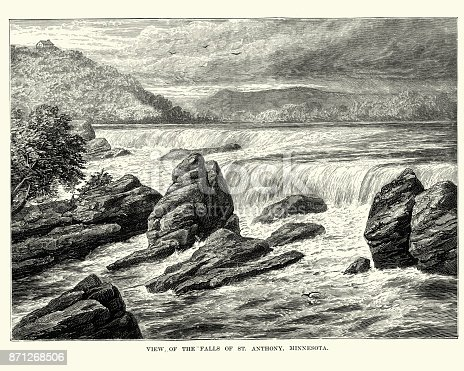 Vintage engraving of the Falls of St Anthony, Minnesota, 19th Century.  Saint Anthony Falls or the Falls of Saint Anthony, located northeast of downtown Minneapolis, Minnesota, was the only natural major waterfall on the Upper Mississippi River.