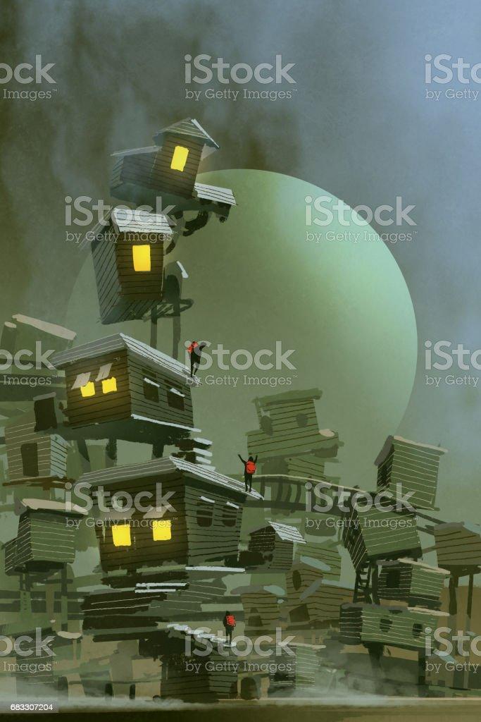 the fantasy village with stacked houses the fantasy village with stacked houses - stockowe grafiki wektorowe i więcej obrazów akwarela royalty-free